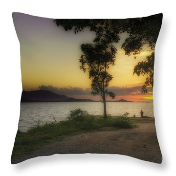 Watching Sunset Throw Pillow by Michelle Meenawong