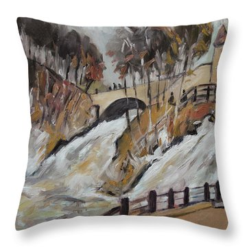 Watching The Cascades De Coo Throw Pillow