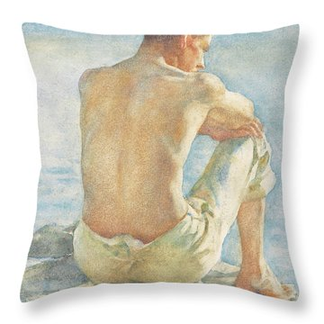Watching The Sea Throw Pillow