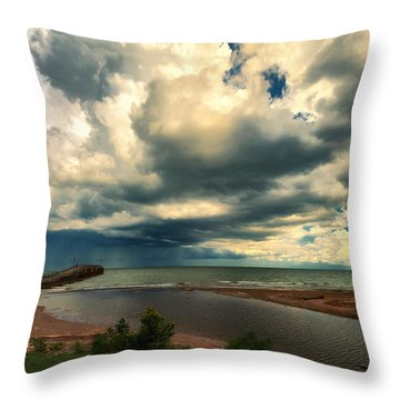 Watching The Storm On Lake Erie Throw Pillow