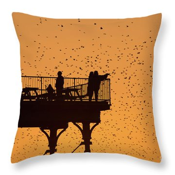 Watching The Sunset And Starlings In Aberystwyth Wales Throw Pillow