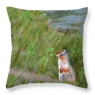 Throw Pillow featuring the painting Watching The Tourists by Linda Feinberg