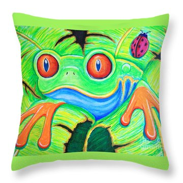 Watching You Red Eyed Tree Frog Throw Pillow by Nick Gustafson