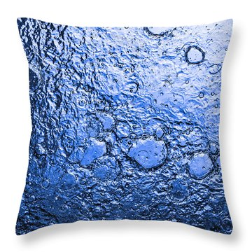 Water Abstraction - Blue Rain Throw Pillow by Alex Potemkin