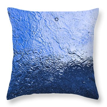 Water Abstraction - Blue Reflection Throw Pillow by Alex Potemkin