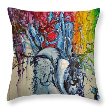 Water And Colors Throw Pillow by Raymond Perez