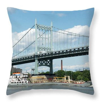 Water And Ship Under The Bridge Throw Pillow