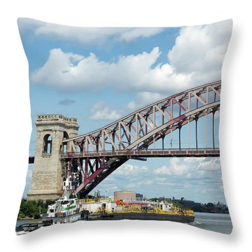 Hell Gate Bridge And Barge Throw Pillow
