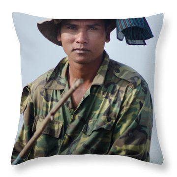 Water Buffalo Driver In Cambodia Throw Pillow by Jason Rosette