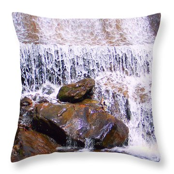 Throw Pillow featuring the photograph Water Cascade by Roberta Byram
