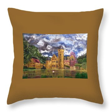 Throw Pillow featuring the painting Water Castle Mespelbrunn by The GYPSY And DEBBIE