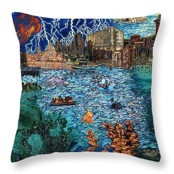 Water City Throw Pillow by Emily McLaughlin