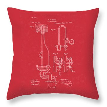 Water Closet Patent Art Red Throw Pillow
