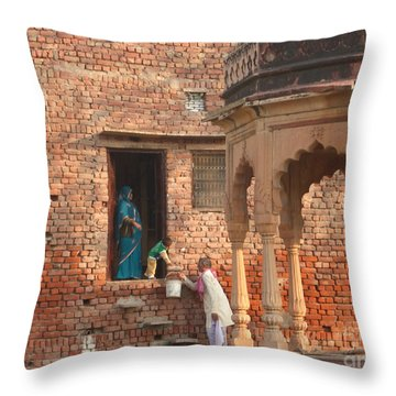 Throw Pillow featuring the photograph Water Delivery In Vrindavan by Jean luc Comperat