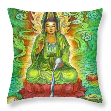 Water Dragon Kuan Yin Throw Pillow