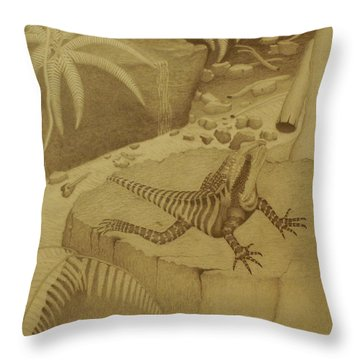 Water Dragon Lizard Throw Pillow by Brian Leverton