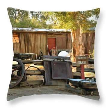 Throw Pillow featuring the photograph Water Draw At Hotel Nipton California By Floyd Snyder by Floyd Snyder