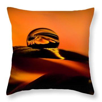 Water Drop On Orange Throw Pillow