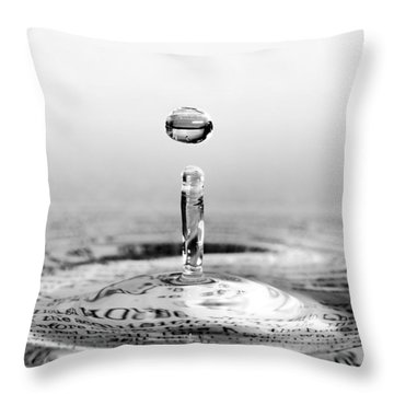 Water Drop Script Throw Pillow