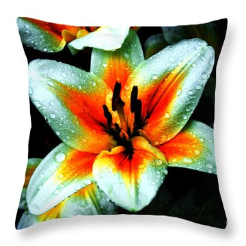 Water Droplet Covered White Lily  Throw Pillow by Andee Design