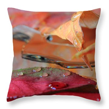 Water Drops On Autumn Leaves Throw Pillow