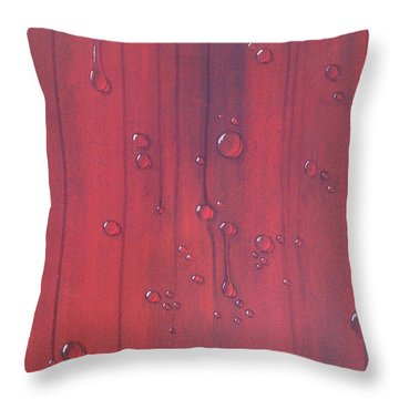 Water Drops On Red Throw Pillow