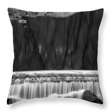 Water Fall And Reflexions Throw Pillow