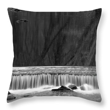 Water Fall In Black And White Throw Pillow