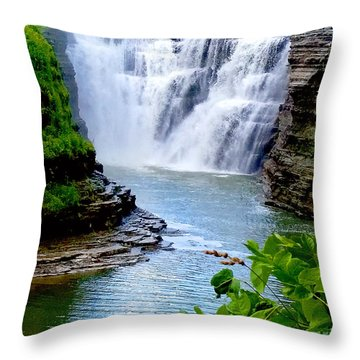 Water Falls Throw Pillow by Raymond Earley