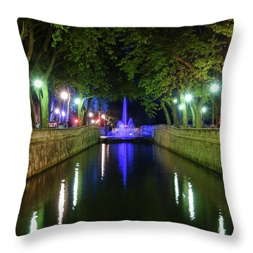 Throw Pillow featuring the photograph Water Fountain At Night by Scott Carruthers
