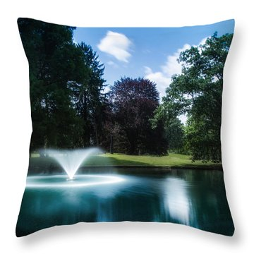 Water Fountain At Spring Grove Throw Pillow