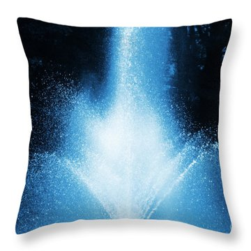 Water Fountain In Blue Throw Pillow