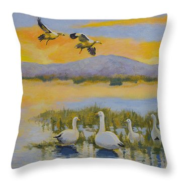 Water Fowl, Sutter Buttes Throw Pillow