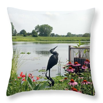 Water Garden With Crane Throw Pillow by Ellen Tully