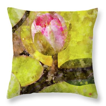 Water Hyacinth Bud Wc Throw Pillow by Peter J Sucy