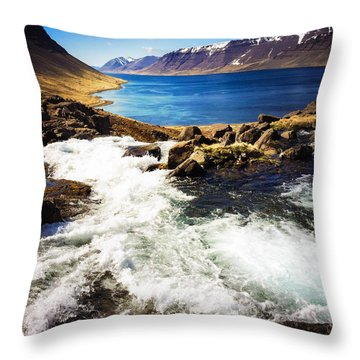 Water In Iceland - Beautiful West Fjords Throw Pillow by Matthias Hauser