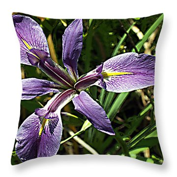 Water Iris Throw Pillow