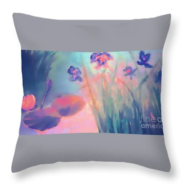 Water Iris Throw Pillow