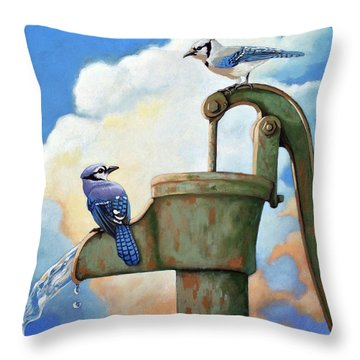 Throw Pillow featuring the painting Water Is Life #3 -blue Jays On Water Pump Painting by Linda Apple
