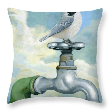 Throw Pillow featuring the painting Water Is Life - Realistic Painting by Linda Apple