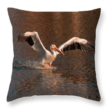 Throw Pillow featuring the photograph Water Landing by Howard Bagley