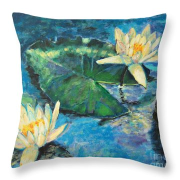 Throw Pillow featuring the painting Water Lilies by Ana Maria Edulescu