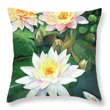 Throw Pillow featuring the painting Water Lilies And Koi by Marlene Book
