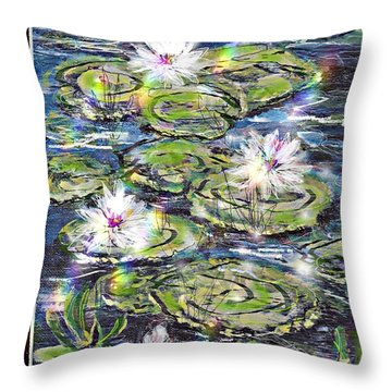 Throw Pillow featuring the painting Water Lilies And Rainbows by Desline Vitto