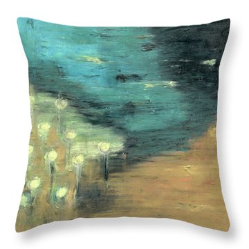 Throw Pillow featuring the painting Water Lilies At The Pond by Michal Mitak Mahgerefteh