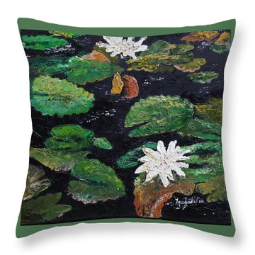 water lilies II Throw Pillow