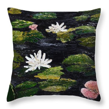 Throw Pillow featuring the painting Water Lilies IIi by Marilyn Zalatan