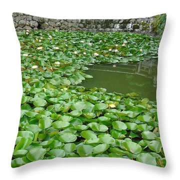Water Lilies In The Moat Throw Pillow