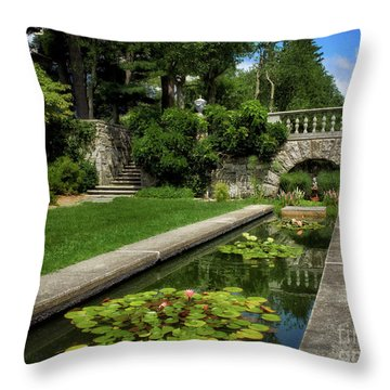 Water Lilies In The Pool Throw Pillow