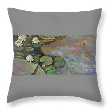 Throw Pillow featuring the painting Water Lilies Late Afternoon by Marlene Book
